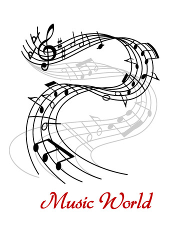 Music World poster design with a black and white swirling wave with clef and music notes forming a tune above the text  Music World