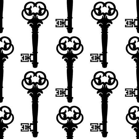 skeleton key: Seamless background pattern of antique keys with a black and white repeat motif Illustration