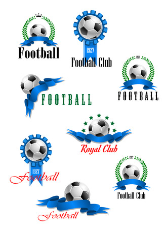 Large set of football emblems or badges with a black and white ball with ribbon banners, wreaths or rosettes and various text illustration on white Ilustração