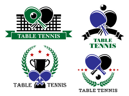 Four Table Tennis emblems or badges with crossed bats and one with a net, one a trophy and wreath, one a ribbon banner and one stars and a wreath, all with text Table Tennis illustration Vector