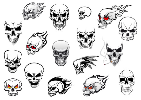 Horror, Halloween and danger skulls set for tattoo, mascot, religion design Vector