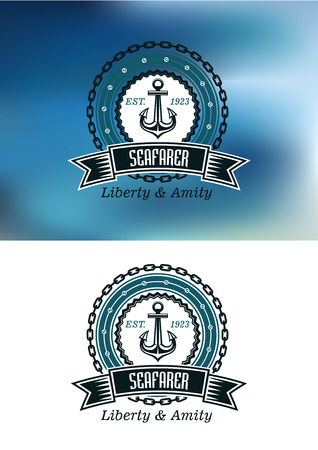 amity: Seafarer badges or emblems in nautical blue with a ships anchor in a circular frame and chain with a banner and text Seafarer Liberty and Amity, on a blue and on a white background Illustration