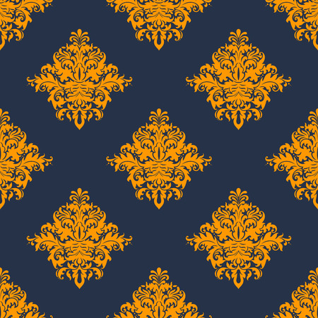 blue damask: Gold and blue damask style seamless background pattern with bold ornate foliate repeat motifs in square format suitable for wallpaper and fabric