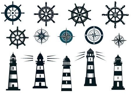 Set of marine or nautical themed icons in black and white with lighthouses, compasses and vintage ships wheels Vettoriali