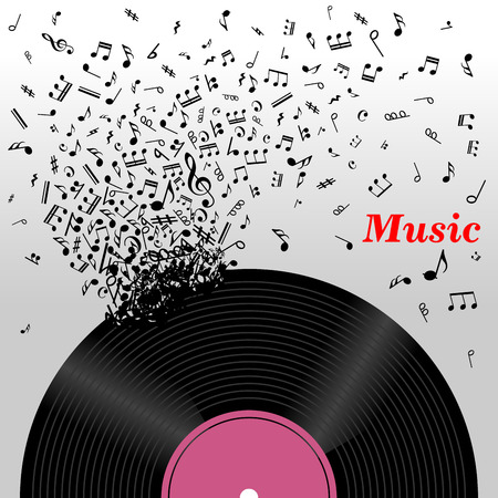 play music: Retro music concept with a cloud of music notes emitting from a long play vinyl record with the text Music