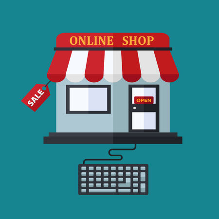 shopping bag icon: Online or e-commerce shop sale concept with a cute little store with red and white awning attached to a computer keyboard and a label saying Sale