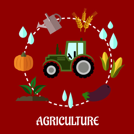 Agriculture flat infographic concept with cartoon tractor and a circle of various crops, water, tractor, farm and a watering can