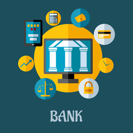 internet banking: illustration of a banking and investment concept with a central bank building surrounded by icons depicting, growth, online, security, accounting, credit card, scales, time and money on blue