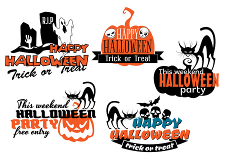 poltergeist: Orange and black Halloween banners with black cats, bats, pumpkins, skulls and ghosts