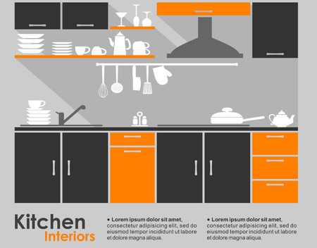 Kitchen interior flat design showing a fitted kitchen with cabinets and a built in hob and extractor with crockery and kitchen utensils on the counter and copyspace for text