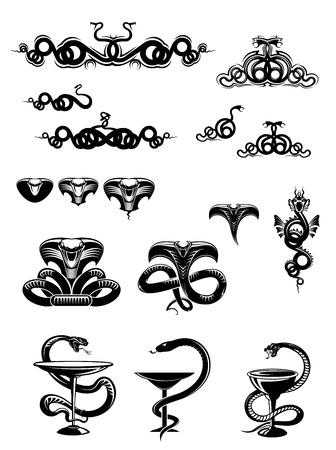 serpiente cobra: Iconos de serpiente blanco y negro intrincados o mascotas con serpientes y serpientes enroscadas arremolinadas