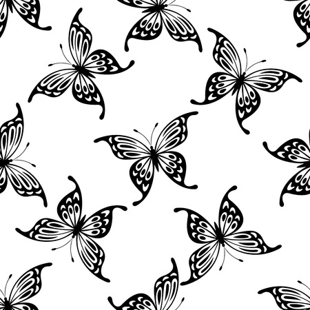 open wings: Flying butterflies seamless background pattern with black and white icons of randomly scattered butterflies with open wings in square format for wallpaper or fabric Illustration