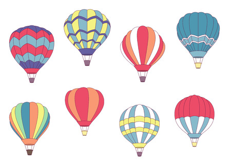 Set of colored hot air balloons with different patterns on the envelope illustration on white Stock Illustratie
