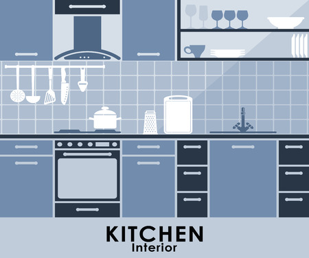 kitchen counter: Kitchen interior  in blue with a built in oven and extractor with cabinets and drawers, a tiled backsplash and hanging kitchen utensils with appliances on the counter