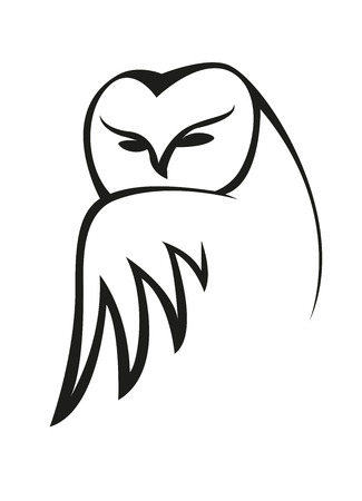 Black and white doodle sketch of an owl peering at the viewer over on outspread wing Vector
