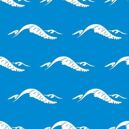 topped: Seamless pattern of a cresting ocean wave topped with white foam on a blue background Illustration