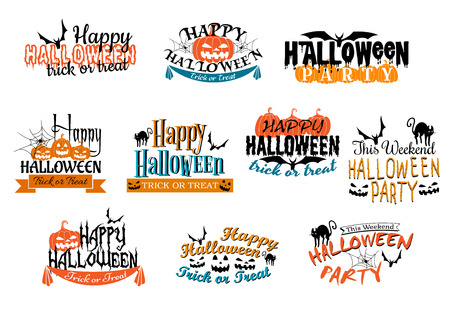 ghouls: Different Halloween party designs for Happy Halloween parties decorated with bats, pumpkin lanterns, spiders, black cat, ghosts, ghouls with various texts illustration on white Illustration