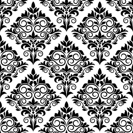 Black and white arabesque design with scrolls and leaves in a bold motif arranged in a seamless background pattern Vector