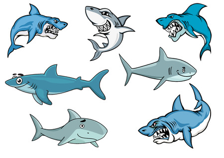 Cartoon sharks with various expressions from fierce and evil baring its teeth, to an evil smile, to a happy contented smiling shark in nautical blue illustration on white 일러스트