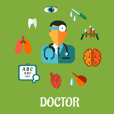 Medical flat infographic concept with a central cartoon doctor encircled by an eye chart, lungs, tooth, eye, dropper, test tubes , brain and heart depicting examination, diagnosis and treatment