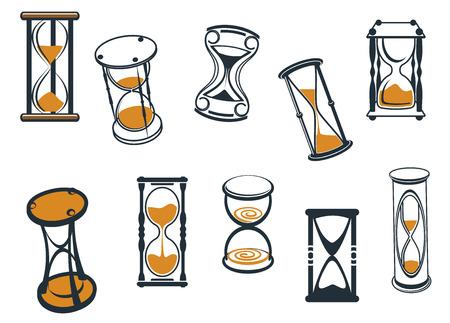passing: Conjunto de diversos relojes de arena de dibujos animados o temporizadores de huevo con arena que atraviesa medir el tiempo que pasa, ilustraci�n vectorial sobre fondo blanco
