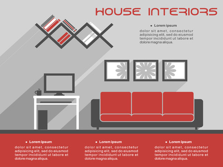 lounge room: House interior design infographic template showing a living room with a television, sofa and wall art with copyspace Illustration