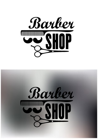 barber: Barber Shop emblems or labels with the text decorated with a comb, moustache, and scissors on a white background and a mottled grey background, vector illustration Illustration