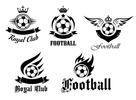 Voetbal en voetbal emblemen instellen met kronen, vleugels en vlammen voor sport ontwerp Stock Illustratie
