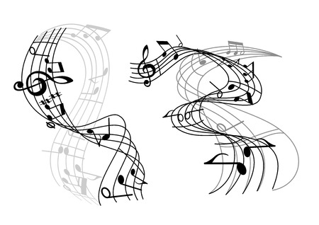 Two music waves with swirling staves or staffs and musical notes and a clef