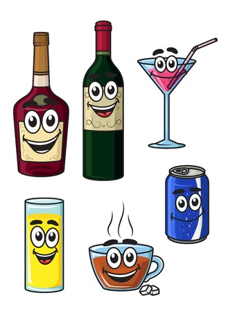 Colorful happy cartoon beverage characters with a bottle of liquor, wine, martini, fruit juice, coffee and a soda can isolated on white Ilustração