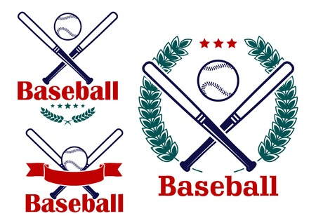 Baseball emblems or badges vector designs with crossed bats and a ball with a ribbon banner, a circular laurel wreath and stars Vector