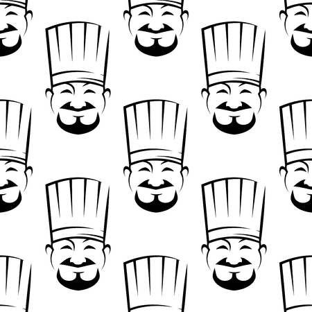 Smiling chefs seamless background pattern with black and white vector icons of a bearded chef wearing a traditional white toque, in square format Vector