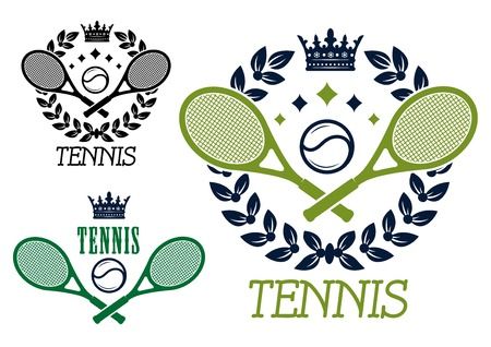 Tennis championship emblems or badges with crossed rackets and a ball inside a laurel wreath topped by a crown in two color variants with a third design without the wreath Vectores