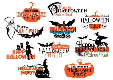 Large set of Happy Halloween eerie designs with various texts decorated with pumpkins, bats, witches, the grim reaper, ghosts, zombie and jack-o-lanterns in orange and black on white Vector