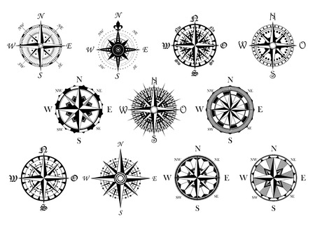 compasses: Vector antique compasses with ornate dials for use as design elements in vintage or retro nautical and marine concepts, black and white