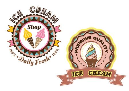 cone cake cone: Ð¡ircular Ice Cream vector labels with colorful ice cream cones one saying Daily Fresh and the other Premium Quality with a ribbon banner