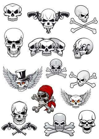 Schedel tekens voor hallowen, piraten en piraterij versierd met gekruiste beenderen, gekruiste pistolen, vleugels, tophat en bandana in zwart-wit