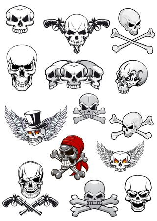 skull and crossed bones: Skull characters for hallowen, pirates and piracy decorated with crossed bones, crossed pistols, wings, tophat and bandanna in black and white