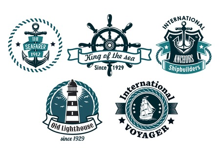 nautical vessel: Nautical themed vector emblems or badges with various text depicting a ships anchor, lighthouse, wheel, tall sailing ship with rope borders, banners and a shield, blue on white