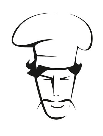 drooping: Black and white doodle sketch of a handsome chef with a drooping thin moustache wearing a traditional white toque
