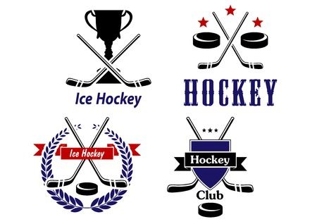 hockey games: Vector Ice Hockey emblems and badges for clubs with crossed sticks and a puck one each with a trophy, laurel wreath and shield