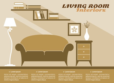 interior design home: Living room interiors  in shades of brown with text copyspace and a sofa, cabinet, lamp snd wall-mounted bookcase, flat vector illustration