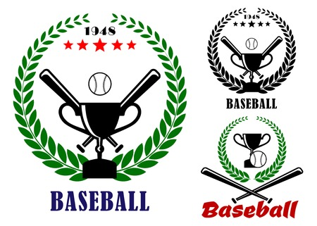 Baseball badges or emblems logo in three designs incorporating a laurel wreath, crossed bats, ball and trophy, vector illustration on white Vector