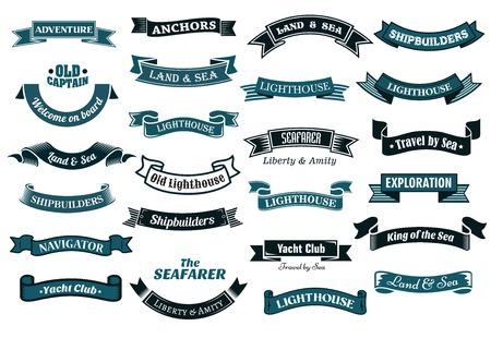 Námořní, námořní a námořní tématikou páskové transparenty s různými text v odstínech modré, vektorové ilustrace izolovaných na bílém