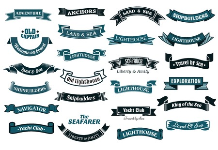Nautical , marine and maritime themed ribbon banners with various text in shades of blue, vector illustration isolated on white Çizim