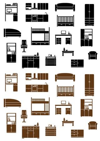 interior decorating: Set di vettore piatta mobili icone raffiguranti vari armadi, letti, divano, poltrona, televisione, scrivania e cassettiera in due varianti di colore, nero e marrone per la decorazione d'interni