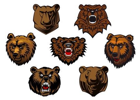 kodiak: Brown cabezas grizzly bear o mascotas con diferentes expresiones de curiosidad a la feroz y gru�endo, ilustraci�n vectorial aislados en blanco