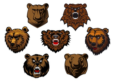 Brown grizzly or bear heads mascots with different expressions from curious to fierce and snarling, vector illustration isolated on white Illustration