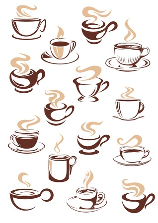 Set of vector sketch steaming hot cups of coffee or tea in brown and white with different shapes as design elements for a coffee house or restaurant Vector
