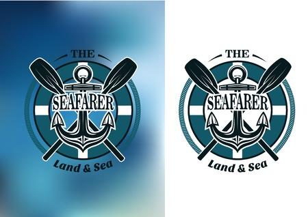 ancre marine: badges de gens de mer en bleu marine avec rames crois�es derri�re un navires ancrent dans un cadre circulaire avec du texte Illustration